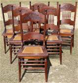 SET OF 6 VICTORIAN OAK PRESSED BACK CHAIRS,