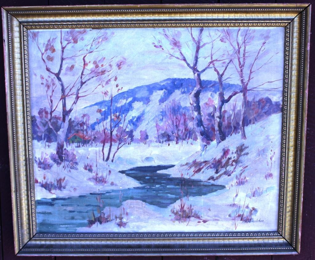 OIL ON BOARD, WINTER LANDSCAPE,
