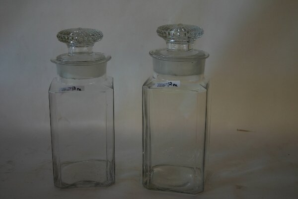 1002: Pr. Late 19th C. Glass Canisters