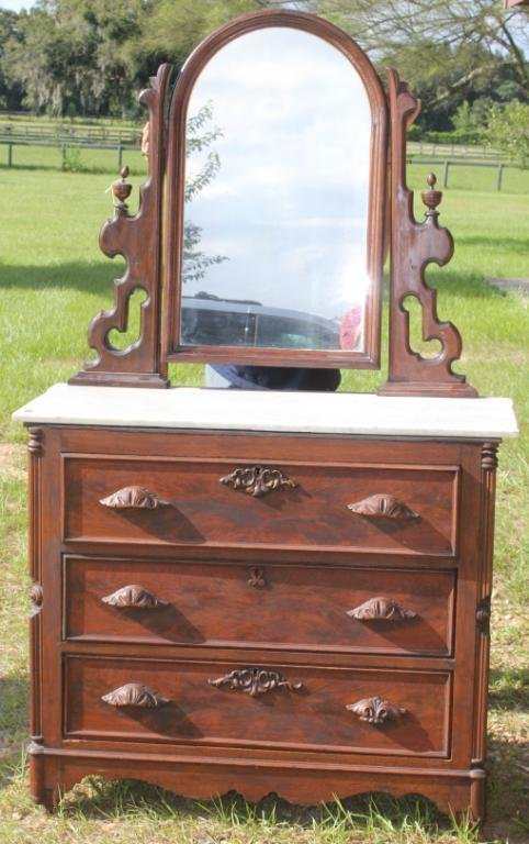 VICTORIAN WALNUT MARBLE TOP CHEST WITH MIRROR,