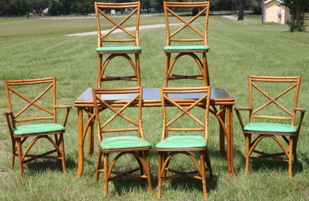 1950s BAMBOO DINETTE SET, FROSTED GLASS TOP