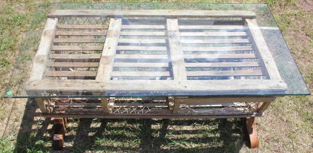 wooden lobster trap converted to coffee table