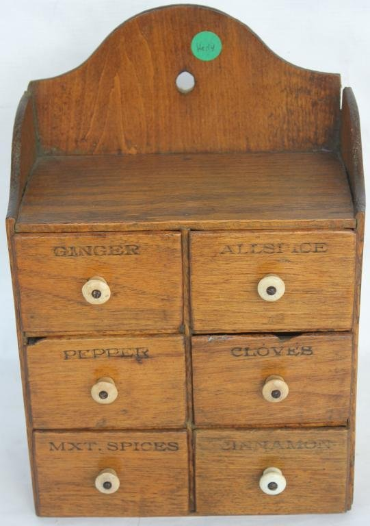 LATE 19TH C. 6 DRAWER SPICE CHEST,