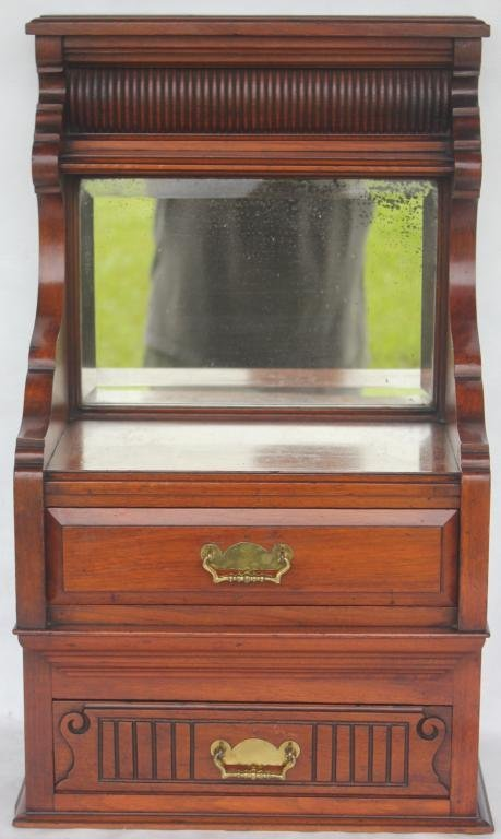 VICTORIAN WALNUT SMALL 2 DRAWER CHEST WITH MIRROR
