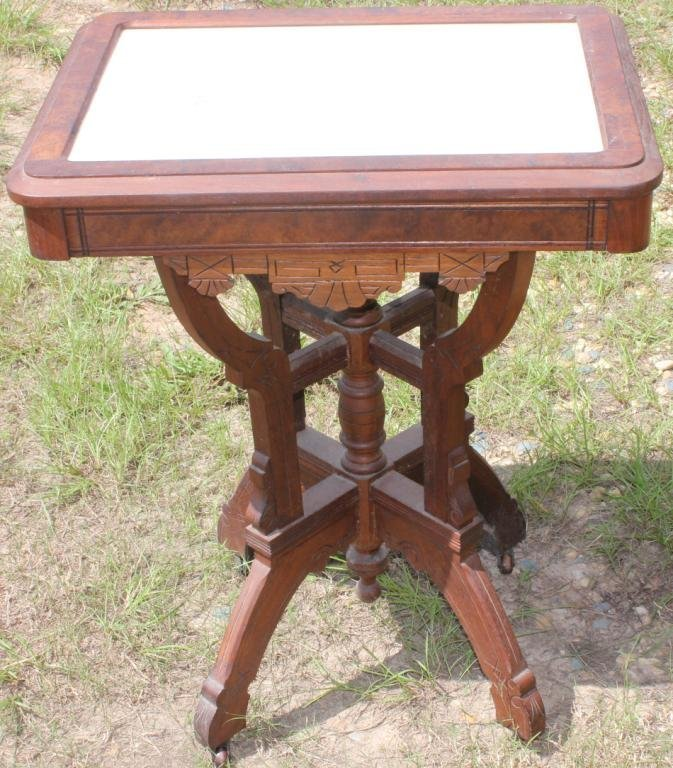 VICTORIAN WALNUT MARBLE TOP TABLE,
