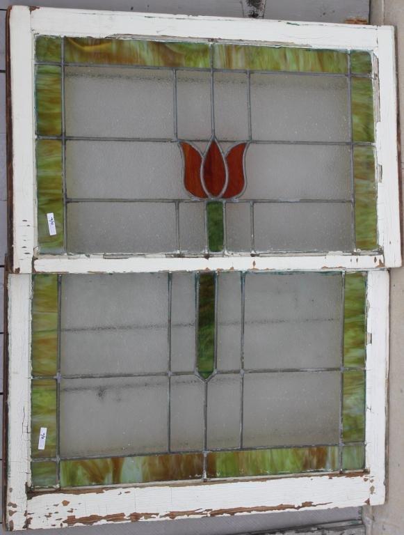 TWO LEADED GLASS WINDOWS,
