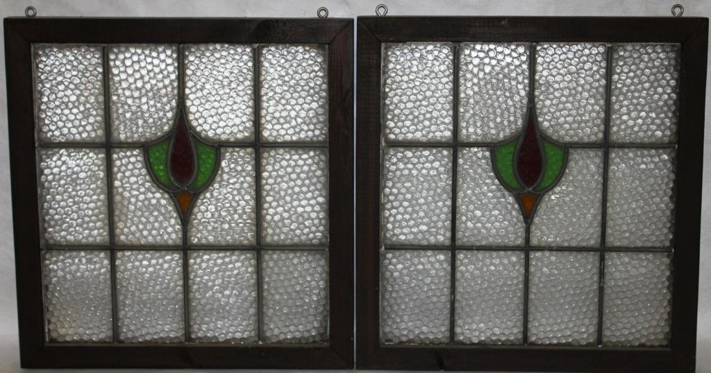 PAIR OF LEADED GLASS WINDOWS WITH