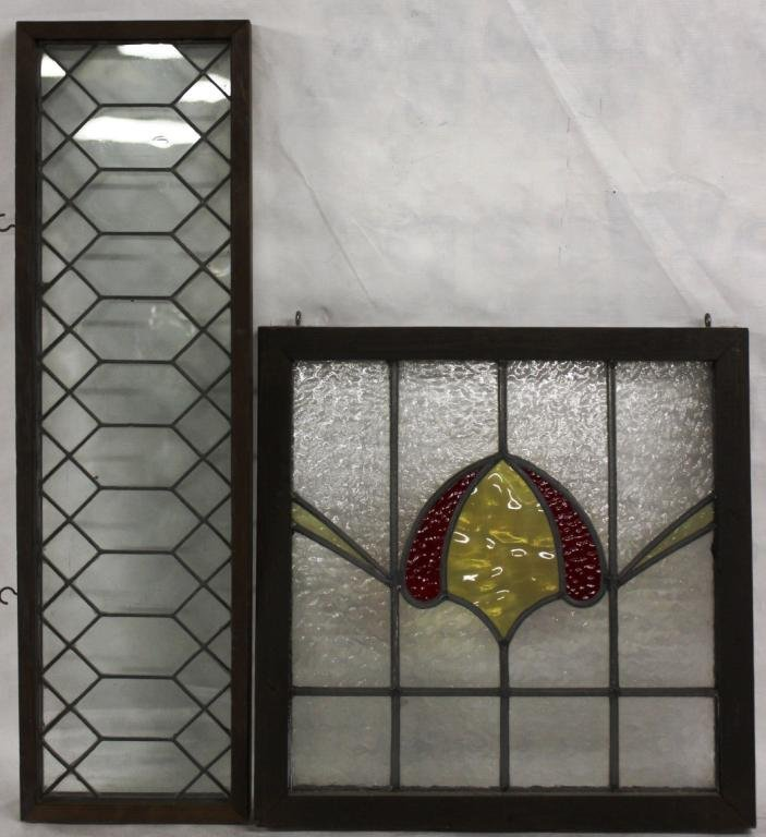 TWO LEADED GLASS WINDOWS ONE WITH