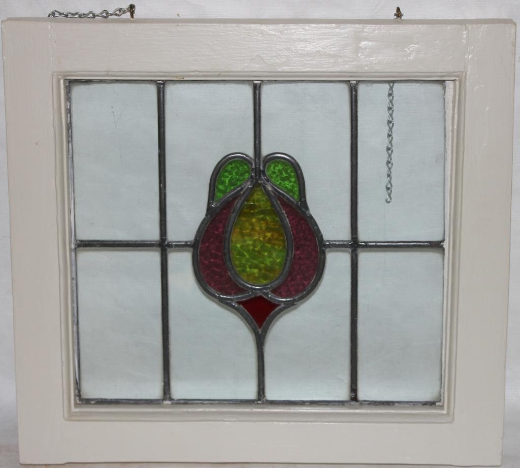 LEADED GLASS WINDOW WITH STYLIZED DESIGN,