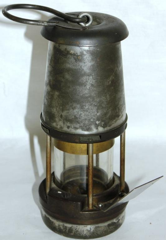 LATE 19TH C. MINER'S LAMP, BRASS & METAL,