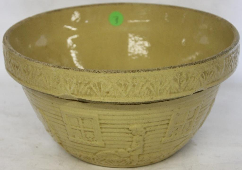 YELLOW WARE MIXING BOWL WITH EMBOSSED