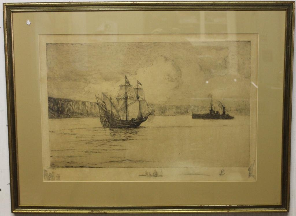 FRAMED & GLAZED ETCHING, BY LEIGH HUNT,