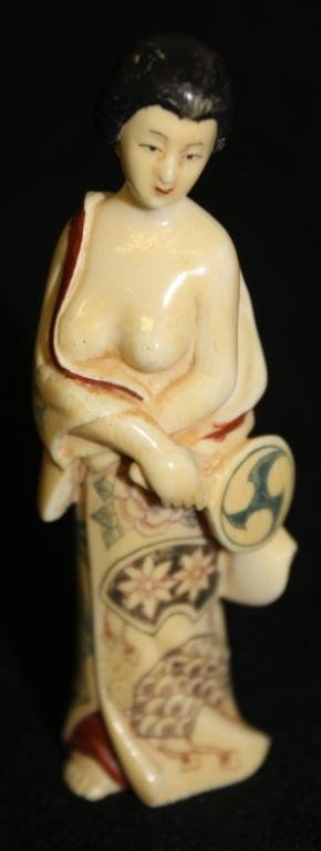 ORIENTAL CARVED IVORY FIGURE OF WOMAN