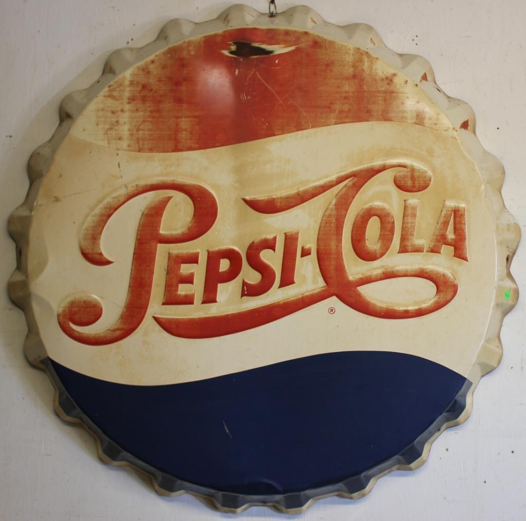 PEPSI-COLA LITHO TIN BUTTON SIGN,