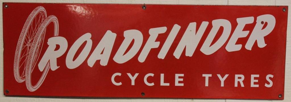 ROADFINDER CYCLE TYRES ENAMELED PORCELAIN SIGN,