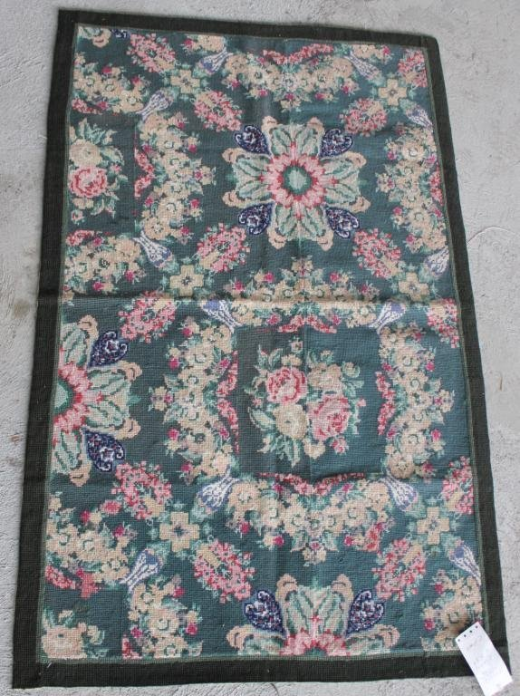 """RUG #452, 2' 6"""" X 4' FLORAL NEEDLE POINT"""