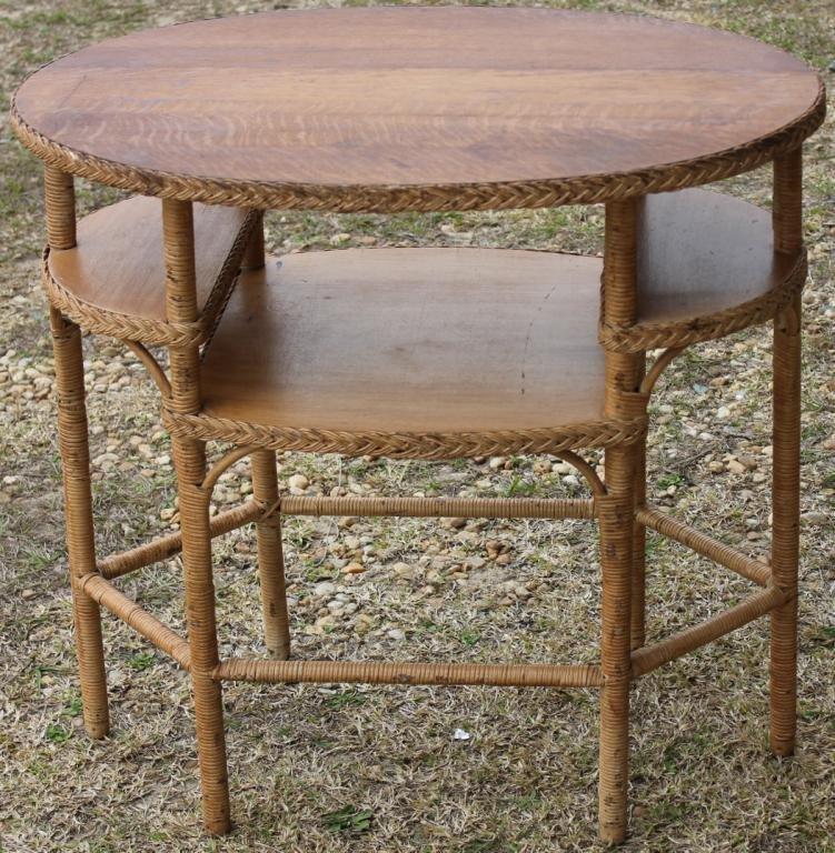 WICKER 3 TIER TABLE, REFINISHED OAK TOP,