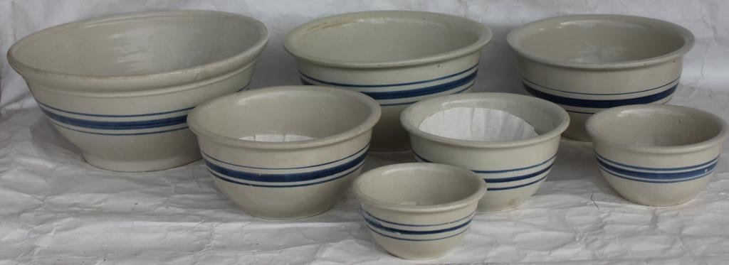 NEST OF 7 BLUE BAND MIXING BOWLS,