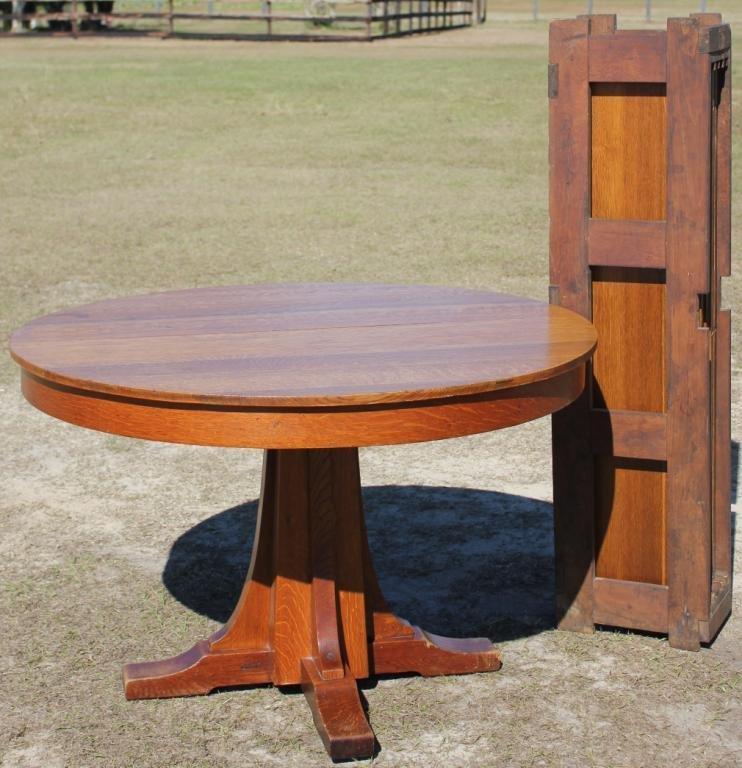 L&JG STICKLEY PEDESTAL DINING TABLE,