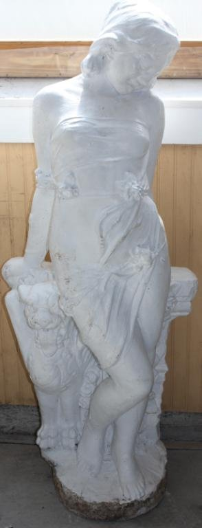 CAST CEMENT VICTORIAN WOMAN,