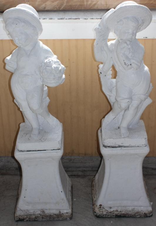 PAIR OF CAST CEMENT VICTORIAN CHILDREN