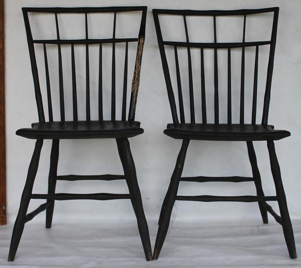 PAIR OF 19TH C. BIRDCAGE WINDSOR SIDE CHAIRS