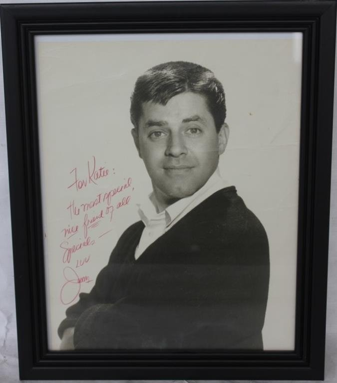 FRAMED AUTOGRAPH TO KAYE FROM JERRY LEWIS,