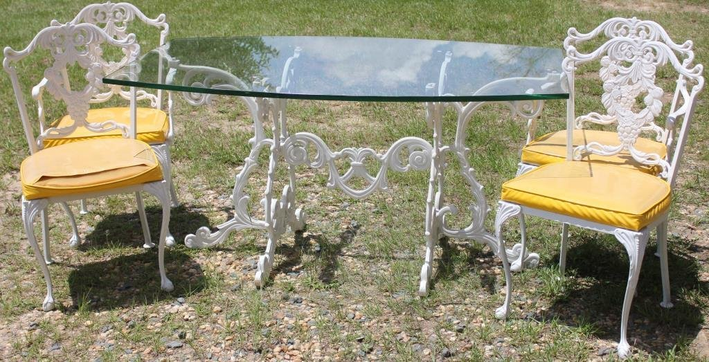 5 PC. CAST METAL TABLE & CHAIRS TO INCLUDE