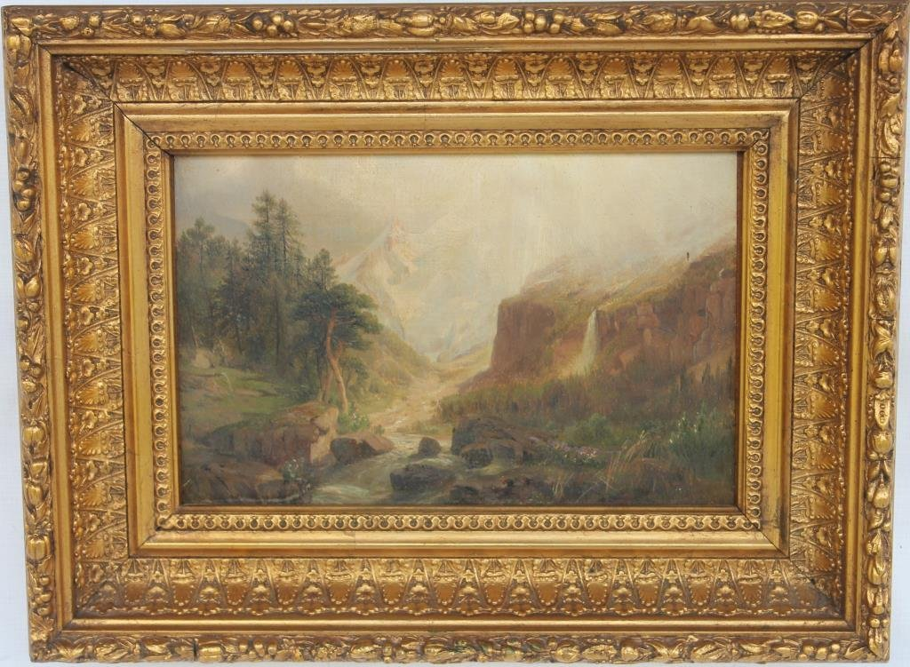 ORNATELY FRAMED OIL PAINTING MOUNTED ON BOARD,