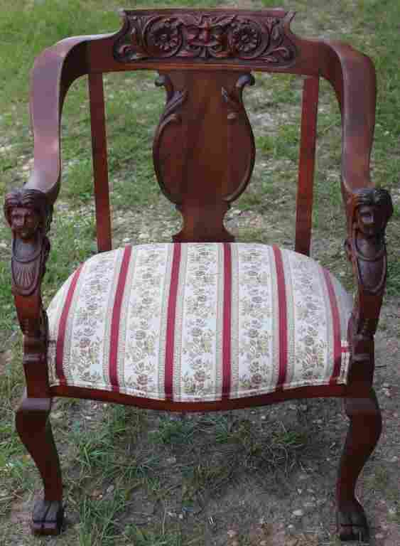 VICTORIAN CARVED MAPLE & MAHOGANY ARMCHAIR,