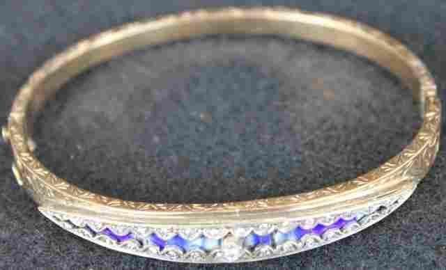 LADIES 14K GOLD DIAMOND HINGED BANGLE BRACELET