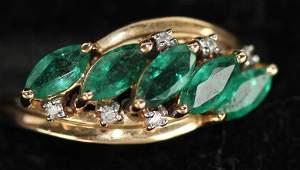 14K GOLD DIAMOND  EMERALD LADIES RING
