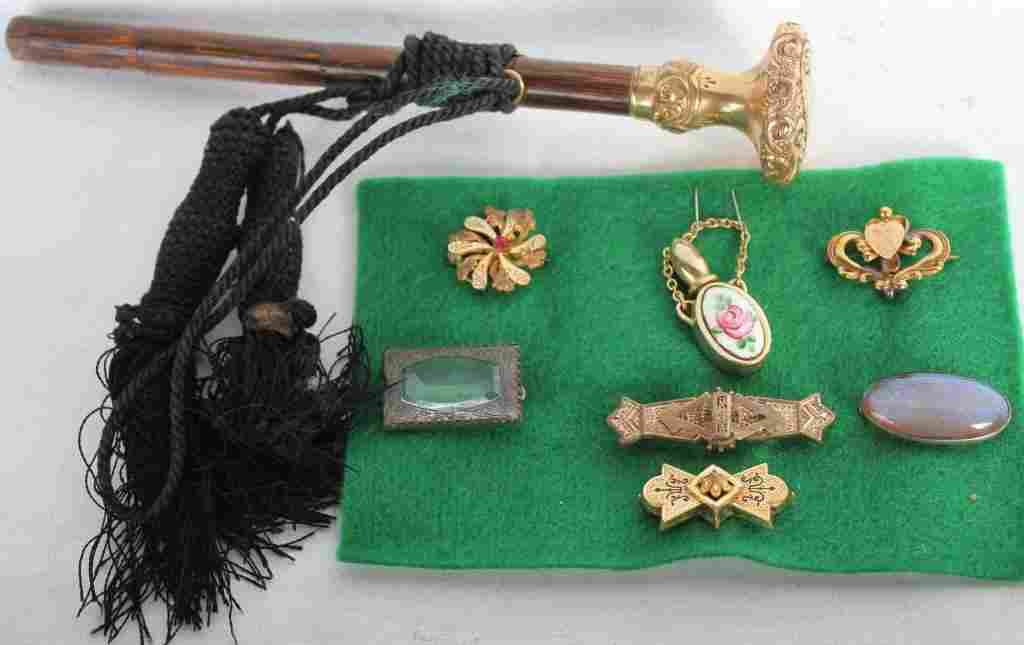 LOT OF 7 VICTORIAN COSTUME PINS TOGETHER