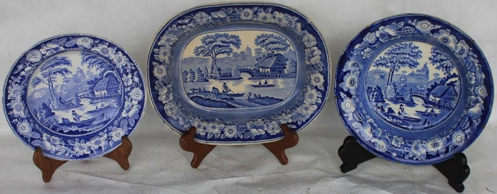 3 EARLY BLUE TRANSFERWARE STAFFORDSHIRE BOWLS