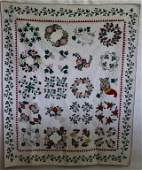 HANDMADE FLORAL APPLIQUE QUILT WITH