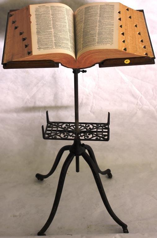 LATE 19TH C. CAST IRON & OAK ADJUSTABLE BOOKSTAND