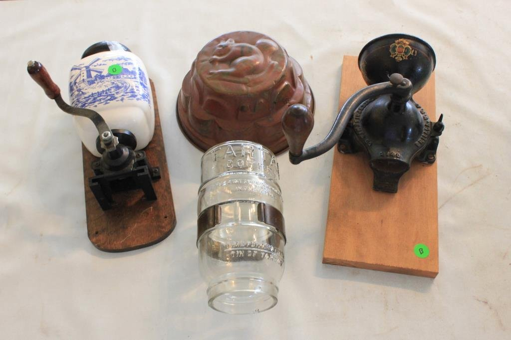 3 PC LOT TO INCLUDE 2 WALL COFFEE GRINDERS, TART