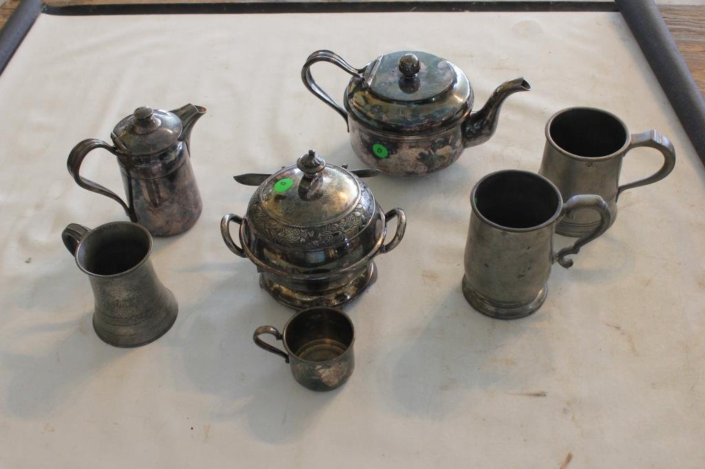 SILVER PLATE AND PEWTER LOT - 7 PCS