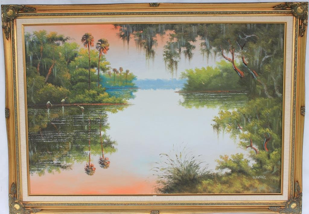 HIGHWAY MAN PAINTING-OIL ON CANVAS RIVER SCENE