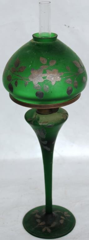 TALL GREEN SATIN GLASS LAMP WITH SILVER OVERLAY