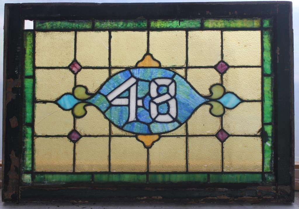 LEADED GLASS WINDOW W/ 48 IN CENTER