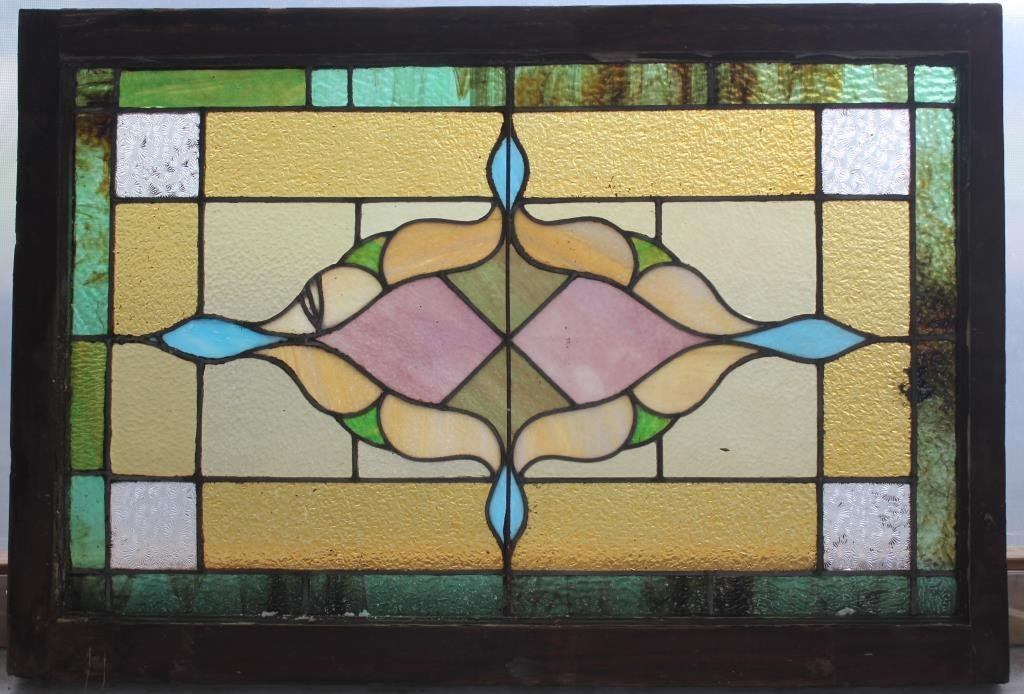 LATE 19TH C. LEADED GLASS WINDOW