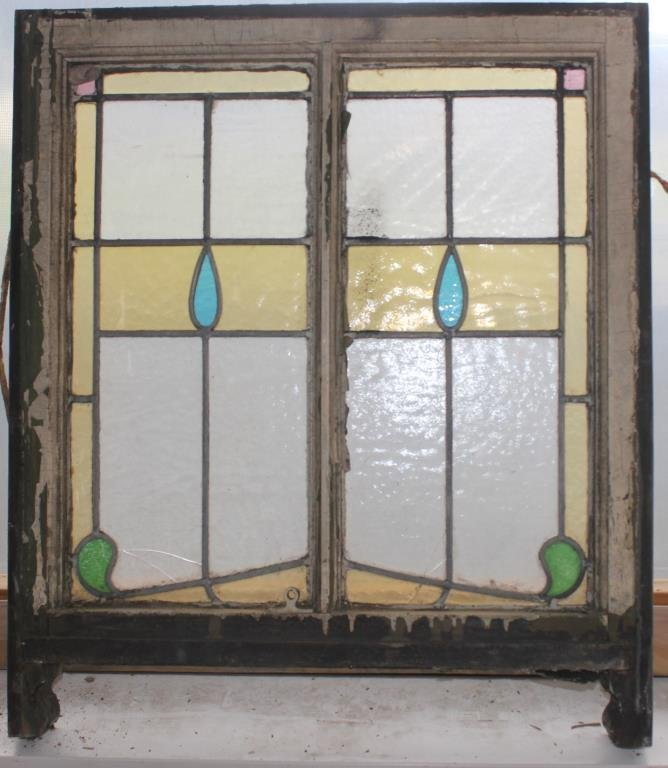 SMALL LEADED GLASS WINDOW, 3 PANELS SHOWS CRACKS