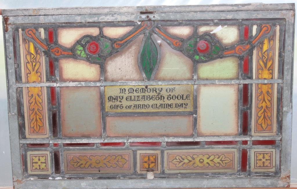 HEAVY METAL BOUND STAINED & LEADED GLASS MEMORIAL