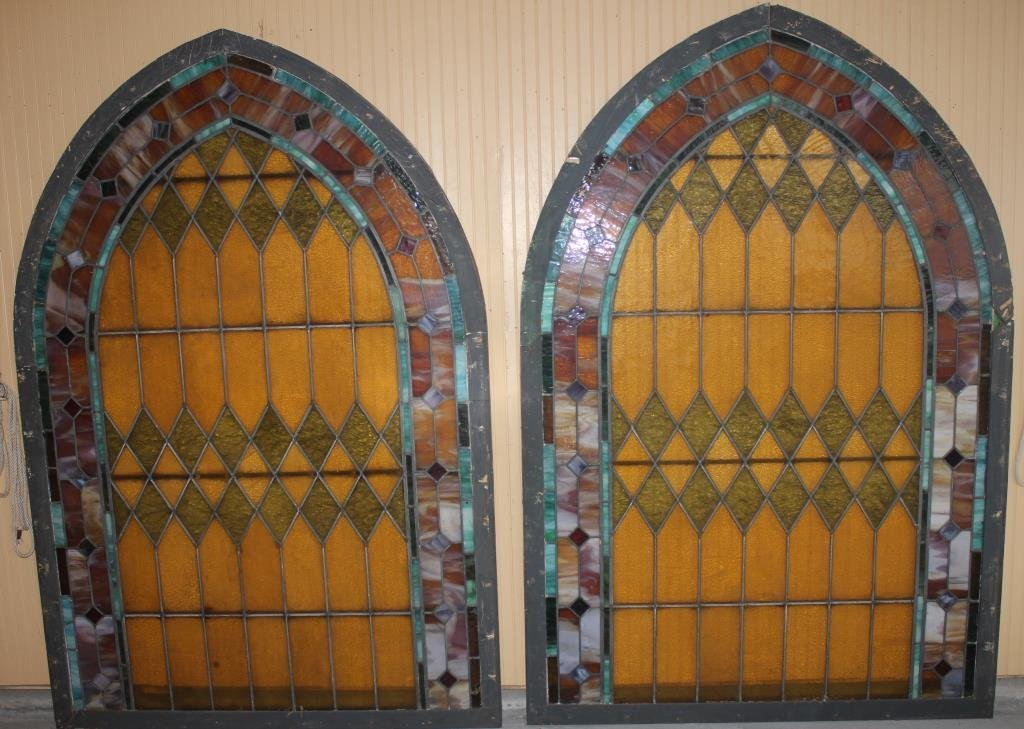 PAIR OF LARGE ARCH TOP WINDOWS