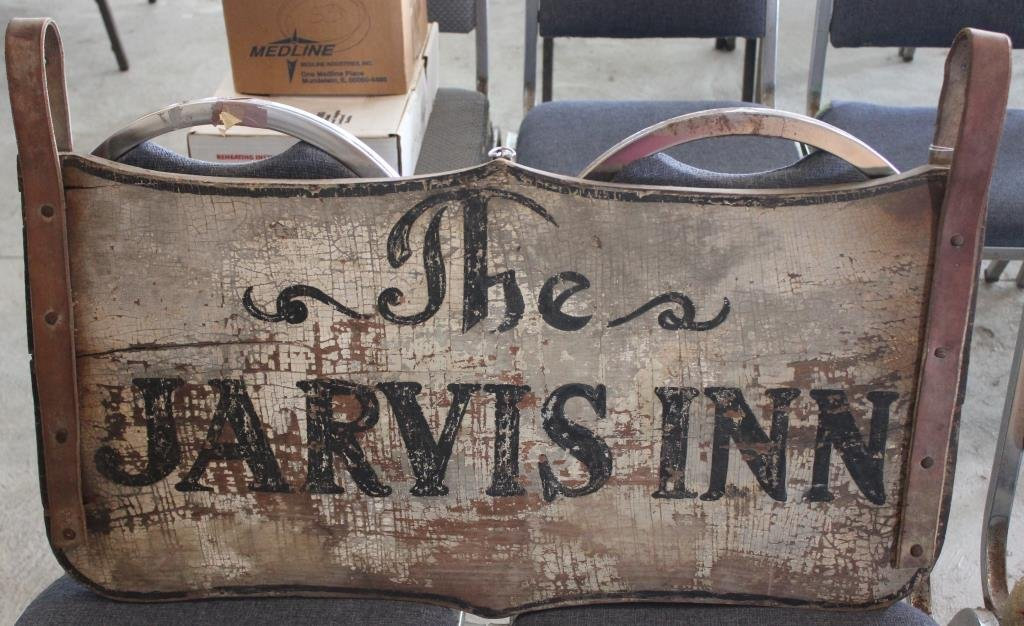 """PAINTED 2-SIDED """"JARVIS INN"""" SIGN, POSSIBLY FROM"""