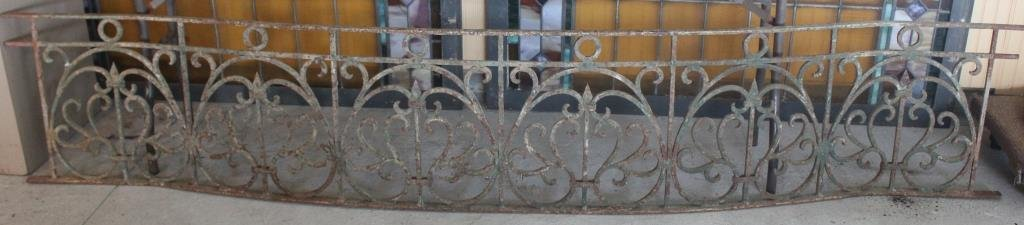 ORNATE WROUGHT IRON BALCONY W/ DISTRESSED PAINTED