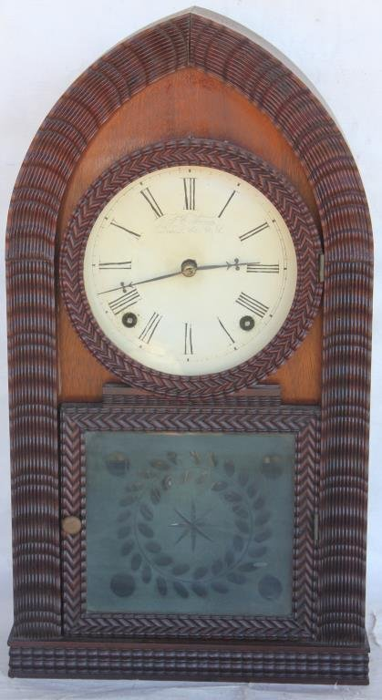 RARE CARVED RIBBON FRONT SHELF CLOCK BY JC BROWN