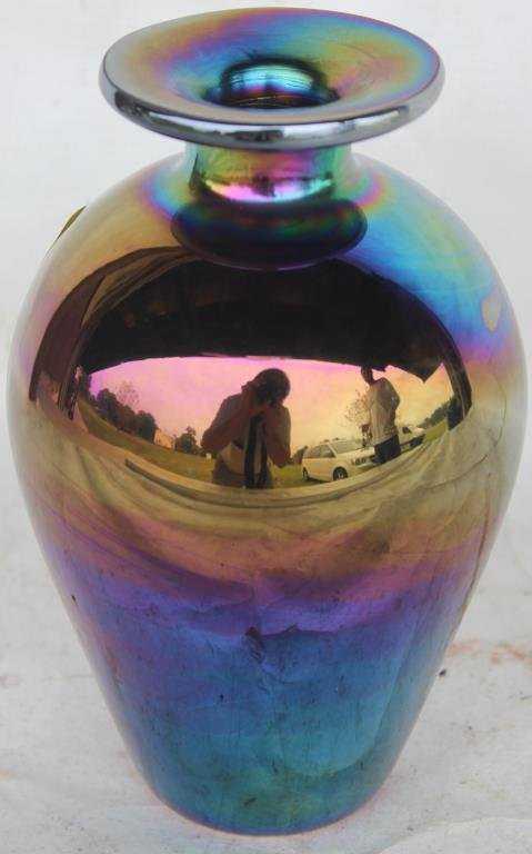 Iridescent Art Glass Blown Vase Prob 20th C