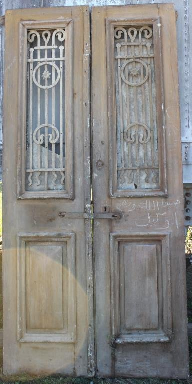 PAIR BROWN DOUBLE DOORS WITH IRON GATES